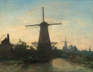 Mills near Rotterdam 1857 by Johan Barthold Jongkind Framed Print on Canvas