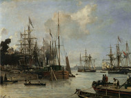 A View of the Harbour, Rotterdam 1856 by Johan Barthold Jongkind Framed Print on Canvas
