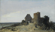 Ruins of the Rosemont castle 1861 by Johan Barthold Jongkind Framed Print on Canvas