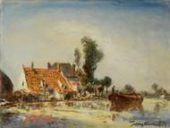 Houses along a Canal near Crooswijk 1874 by Johan Barthold Jongkind Framed Print on Canvas