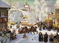 Maslenitsa 1919 - Depicts the Eastern Orthodox holiday Maslenitsa by Boris Kustodiev Framed Print on Canvas
