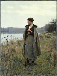 The Shepherdess of Rolleboise 1896 by Daniel Ridgway Knight Framed Print on Canvas