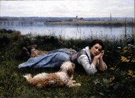Reverie 1866 by Daniel Ridgway Knight Framed Print on Canvas