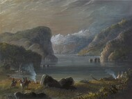 Lake Scene 1858 by Alfred Jacob Miller Framed Print on Canvas