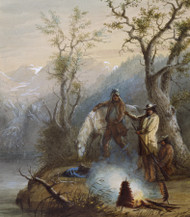 Roasting The Hump Rib 1858 by Alfred Jacob Miller Framed Print on Canvas