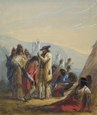 Presents to Indians 1858 by Alfred Jacob Miller Framed Print on Canvas