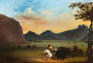 Buffalo Hunt 1839 by Alfred Jacob Miller Framed Print on Canvas