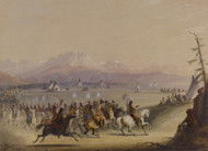 Cavalcade 1858 by Alfred Jacob Miller Framed Print on Canvas