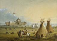 Fort Laramie 1858 by Alfred Jacob Miller Framed Print on Canvas