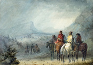 Storm: Waiting for the Caravan 1858 by Alfred Jacob Miller Framed Print on Canvas