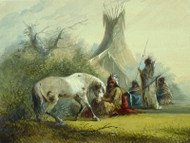 Shoshone Indian and his Pet Horse 1858 by Alfred Jacob Miller Framed Print on Canvas