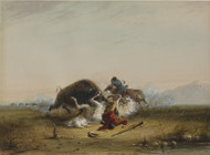 Pierre and the Buffalo 1858 by Alfred Jacob Miller Framed Print on Canvas