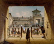 Interior of Fort Laramie 1858 by Alfred Jacob Miller Framed Print on Canvas