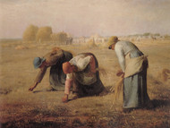 The gleaners by Jean-Francois Millet Framed Print on Canvas