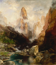 Mist in Kanab Canyon, Utah by Thomas Moran Framed Print on Canvas