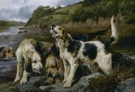 Otter Hunting (On the Scent) 1881 by John Sargent Noble Framed Print on Canvas