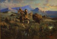 Buffalo Hunt 1905 by Edgar Samuel Paxson Framed Print on Canvas