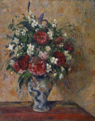 Still life with peonies and mock orange by Camille Pissarro Framed Print on Canvas