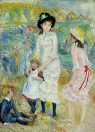 Children on the Seashore, Guernsey 1883 by Pierre-Auguste Renoir Framed Print on Canvas