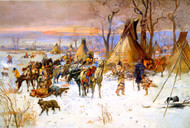 Indian Hunters' Return 1900 by Charles M Russell Framed Print on Canvas