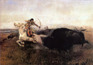 Indians Hunting Buffalo 1894 by Charles M Russell Framed Print on Canvas