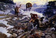 The Price of His Hide by Charles M Russell Framed Print on Canvas
