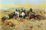 A Desperate Stand 1898 by Charles M Russell Framed Print on Canvas