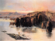 The Buffalo Herd 1895 by Charles M Russell Framed Print on Canvas