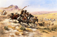 Attack on a Wagon Train 1902 by Charles M Russell Framed Print on Canvas