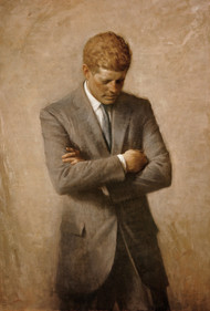 Portrait of President John F Kennedy (JFK) 1970 by Aaron Shikler Framed Print on Canvas