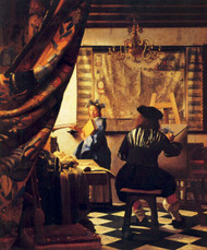 The art of painting  by Johannes Vermeer Framed Print on Canvas