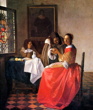 The girl with a wine glass by Johannes Vermeer Framed Print on Canvas