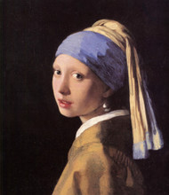 The girl with a pearl earring by Johannes Vermeer Framed Print on Canvas