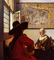 Officer with a Laughing Girl by Johannes Vermeer Framed Print on Canvas