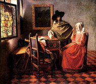 The glass of wine by Johannes Vermeer Framed Print on Canvas