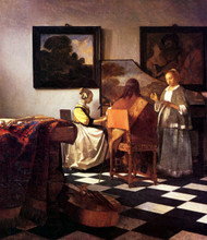 The Concert by Johannes Vermeer Framed Print on Canvas