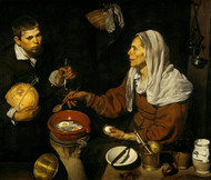 An old woman frying eggs 1618 by Diego Velazquez Framed Print on Canvas
