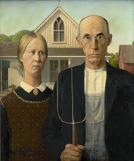 American Gothic by Grant Wood Framed Print on Canvas