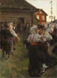 Midsummer Dance 1897 by Anders Zorn Framed Print on Canvas