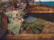 In a rose garden 1890 by Lawrence Alma Tadema Framed Print on Canvas