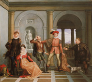 Scene from Shakespeares The Taming of the Shrew by Washington Allston Framed Print on Canvas