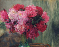 Japanese peonies 1912 by Lawrence Alma Tadema Framed Print on Canvas