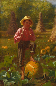 That's me pumpkin 1874 by John George Brown Framed Print on Canvas