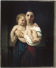 The Elder Sister 1864 by William Adolph Bouguereau Framed Print on Canvas
