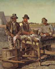 Cleaning Fish 1877 by John George Brown Framed Print on Canvas