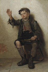 Shine, Sir? 1885 by John George Brown Framed Print on Canvas