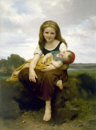 The Elder Sister 1869 by William Adolph Bouguereau Framed Print on Canvas