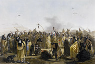 Scalp Dance of the Minitarres by Karl Bodmer Framed Print on Canvas