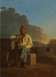 Mississippi Boatman 1850 by George Caleb Bingham Framed Print on Canvas