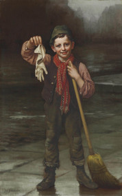Lost and Found 1880 by John George Brown Framed Print on Canvas
